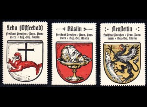 Preussen, Wappen Leba, Köslin, Neustettin, 3 Pommern Sammelmarken