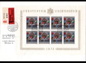 Liechtenstein 590, 8x5 Fr., kpl. Kleinbogen auf Einschreiben Eilboten Brief
