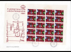 Liechtenstein Cept 1961, kpl. Bogen auf FDC