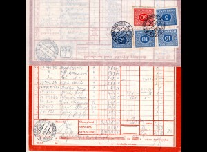 Tschechoslowakei 1937, 5 Portomarken rückseitig auf Postformular v TSCHERNOSCHIN