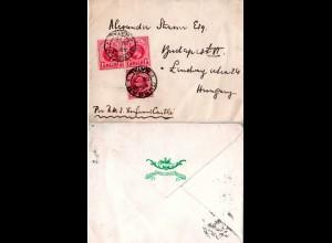 Natal 1905, 3x 1d auf Hotel Schiffs Brief v. Durban n. Ungarn.