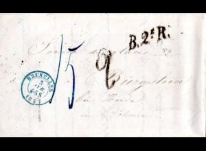 Belgien 1857, B.2e.R. auf Porto Brief v. Bruxelles n. Haida, Böhmen, Österreich
