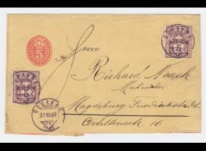 Schweiz 1889, 5 C. Ganzsache Streifband m. Zusatz v. Douanne n. Magdeburg. #2337