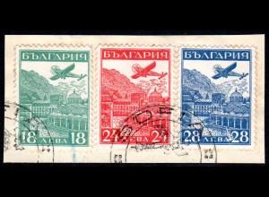 Bulgarien 249/51, Luftpost Ausstellung, 3 Werte kpl. auf schönem Briefstück