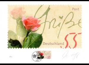 BRD 2321, Rosengruß auf Grafik-Druck d. Dt. Post. Limitierte Auflage. Zertifikat
