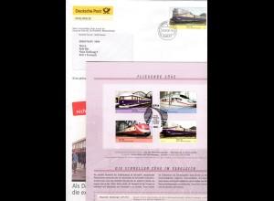 BRD 2560/63, Eisenbahn, Sonderfaltblatt d. Dt. Post in Sonder Ganzsache Brief