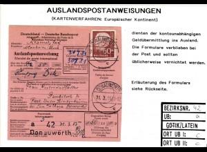 BRD 1955, EF 60 Pf. Heuss auf Auslands Postanweisung v. Donauwörth