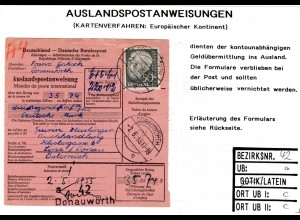 BRD 1955, EF 50 Pf. Heuss auf Auslands Postanweisung v. Donauwörth