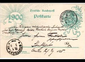 DR 1900, Berlin-K1 Gross-Lichterfelde auf 5 Pf. Jahrhundertwende Ganzsache