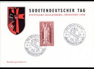 Stuttgart, Ereigniskarte m. Sonderstempel Sudetendeutscher Tag Pfingsten 1958