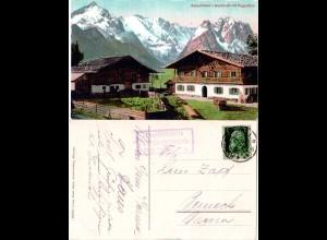 Bayern 1917, Posthilfstelle Vordergraseck Taxe Partenkirchen auf AK m. 5 Pf.
