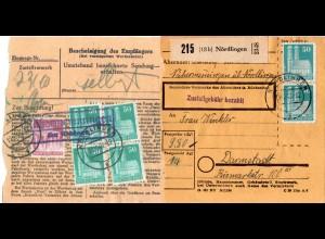 1948, Nähermemmingen über Nördlingen, Landpost Stpl. rücks. auf Paketkarte