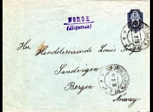 Russland 1908, 10 Kop. auf Brief v. KRONSTADT m. Leitstempel NORGE/Norvegia