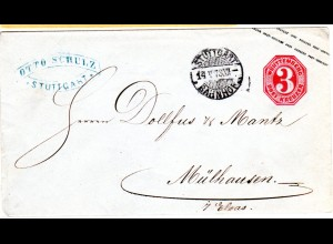 Württemberg, 3 Kr Ganzsache Brief v. Stuttgart m. rs. Hufeisenstpl. Mühlhausen