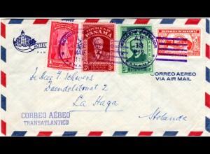 Panama 1956, 4 Marken auf Hotel Brief per Luftpost n. NL