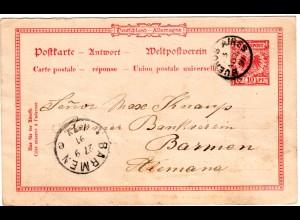 DR 1891, 10 Pf. Antwort Ganzsache von BUENOS AIRES Argentinien zurückgebraucht!