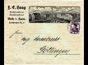 DR 1918, 15 Pf. Germania auf illustriertem Firmen Brief v. Melle