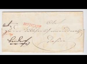 Baden 1845, rot L1 Bonndorf auf Orts Brief m. Inhalt. #1882