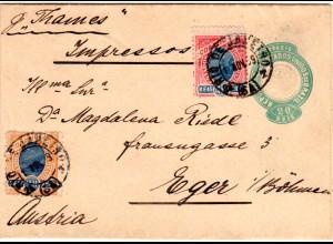 Brasilien 1899, 10+20 R. auf 20 r. Ganzsache Streifband v. Rio n. Österreich