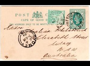 Kap d. Guten Hoffnung 1899, 1/2d auf Ganzsache v. Oudtshoorn n. Australien