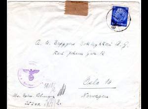 FP WK II 1941, EF 25 Pf. auf Zensur Brief v. 35240 n. Norwegen