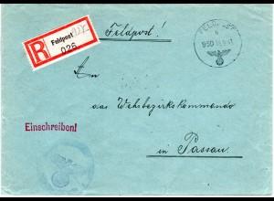 FP WK II 1941, Einschreiben Brief v. Trondheim über LG PA Berlin n. Passau