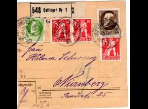 Bayern 1920, 3x15 Pf. Abschied zus. m. 5Pf.+1Mk. auf Paketkarte v. Oettingen