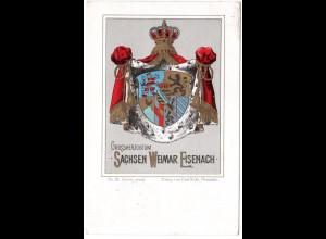 Großherzogtum Sachsen Weimar Eisenach, 1900 gebr. Litho Wappen-AK