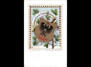 Schwarzburg Sondershausen, 1900 gebr. Litho Wappen-AK