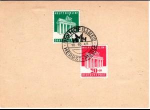 1949, Sonder-Stpl. Hof (Saale) Herbst-Messe auf Ga m. rs. 10+20 Pf. Berlinhilfe