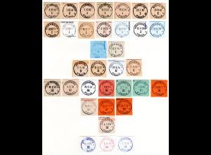 BRD, Sammlung 34 verschiedene Stempel Nürnberg Postscheckamt, je auf Briefstück