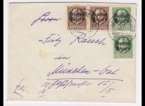 Bayern 1920, je 2mal 3+7 1/2 Pf. Freistaat auf Brief v. K1 Obergünzburg. #1859