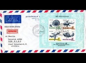 Ungarn 1967, Block 57 auf Helicopter Post Express Brief n. Österreich