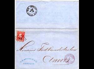 NL 1869, 10 C. auf schönem Brief v. Rotterdam n. Belgien