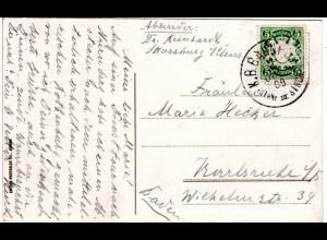 Bayern 1908, Bahnpost-K1 ROTHNB III STNCH. auf Karte m. 5 Pf.