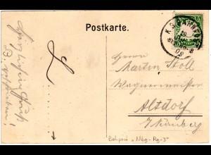 Bayern 1909, Bahnpost-K1 Nbg-Re-3 auf Karte m. 5 Pf.