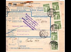 Tschechoslowakei 1954, 28 Marken auf Paketkarte v. LETOVICE n. Finnland