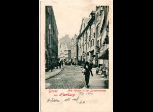 Hamburg, Düsternstrasse m. Geschäften u. Personen,1900 n. Norwegen gebr. sw-AK