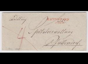 Baden, rot L1 R2 CONSTANZ klar auf schönem Porto Brief n. Pfullendorf. #1884