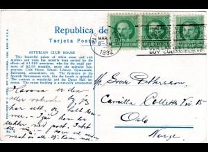 Cuba, Habana Asturian Club House, 1932 v. Havanna n. Norwegen gebr. sw-AK