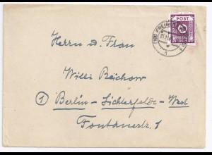 SBZ 1945, EF 40 Pf. auf Brief (Porto bis 500 g) v. Freiberg Sachsen. #1052