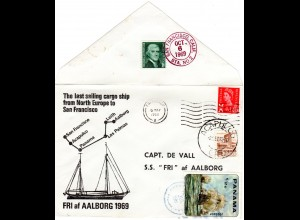 1969 SS FRI ship cover with US, Scotland, Mexico and Panama mixed franking
