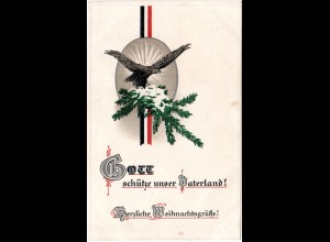 Herzliche Weihnachtsgrüße, 1914 geschriebene Farb Präge-AK