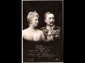 Kaiser Wilhelm u.Kaiserin Auguste Vicotria, ungebr. sw-AK m. Foto-Signaturen