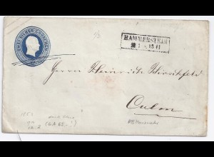 Preussen, Hammerstein RB Marienwerder a. 2 SGr dunkelblau Ganzsache Brief. #1269