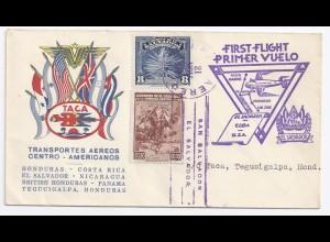 El Salvador Honduras 1943, Primer Vuelo, Erstflug Brief m. Ankunftstempel. #1553