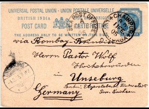 Indien 1905, K1 CHAINPUR LOHARDAGA u. SEA POST OFFICE A auf 1 A. Ganzsache
