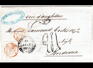 Guadeloupe 1855, K2 POINT À PITRE auf Porto Brief via GB n. Frankreich