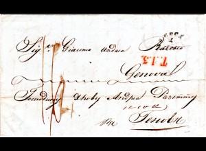 Russland 1845, rücks. L2 MARIUPOL sowie vs. ODESSA auf Brief n Sardinien Italien