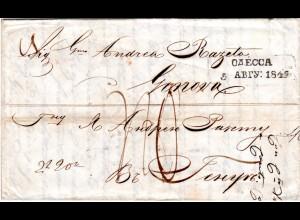 Russland 1849, rücks. L2 MARIUPOL sowie vs. ODESSA auf Brief n Sardinien Italien